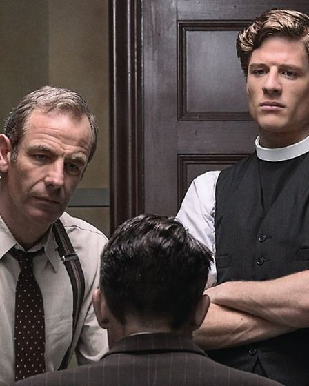 A publicity photograph for the ITV dramatisation of The Grantchester Mysteries, starring Robson Gree