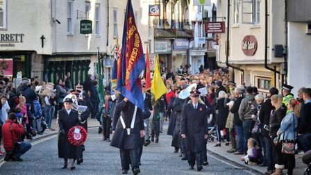 Remembrance Day parade through Diss before the centenary of the First World War armistice was marked
