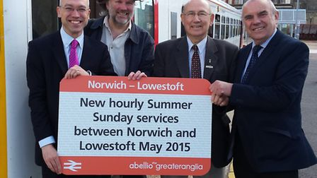 (L-R) Jonathan Denby, head of corporate affairs, Abellio Greater Anglia, Chris Wood from the Communi