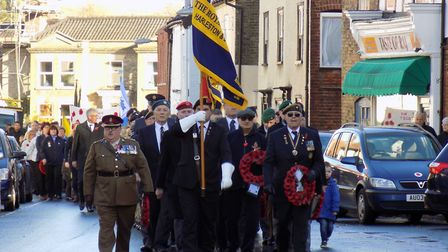 Remembrance Day parade through Harleston marking cententary of the First World War armistice. Pictur