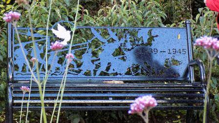 One of the new benches at the Harleston memorial garden, unveiled to mark the cententary of the Firs