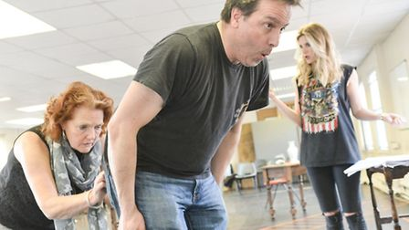 Louise Jameson, Hywel Simons and Sarah Jayne Dunn in rehearsal for Colchester Mercury's production o