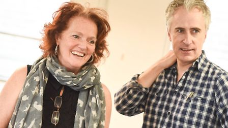 Louise Jameson and David Shelley who plays Frederick Fellowes in rehearsal for Colchester Mercury's