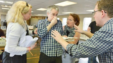 Rehearsals for Colchester Mercury's production of Michael Frayn's classic farce Noises Off