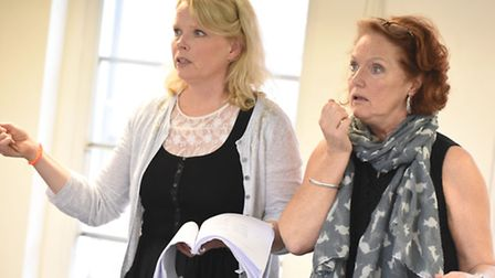 Louise Jameson as Dotty Otley and Sara Crowe as Belinda Blair in rehearsal for Colchester Mercury's