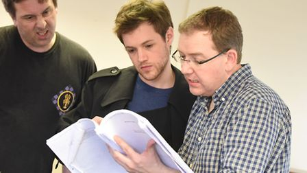 Hywel Simons, Dan Cohen with director Daniel Buckroyd in rehearsal for Colchester Mercury's producti