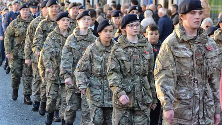 Servicemen and women joined the Remembrance Day parade through Diss before to pay their resp[ects an