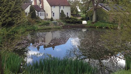 The pond and house at Fenners, near Sible Hedingham