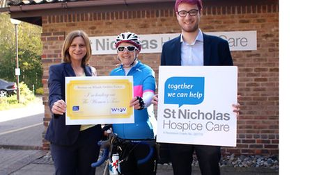 Abbeycroft Leisure's Director of Development Alison Blackwell with cyclist and Women on Wheels part