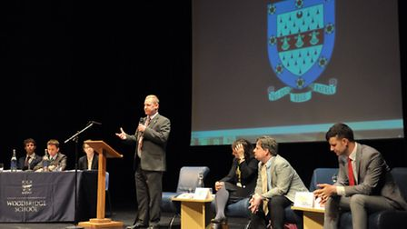 General Election hustings event for 320 students from Woodbridge School and Farlingaye High School w