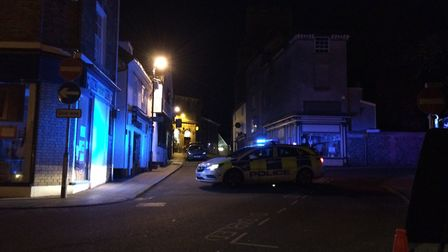 Market Hill in Diss was blocked by police while fire crews dealt with a small fire in Weavers. PHOTO