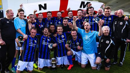 Needham Market celebrate winning the Ryman Division One North title for season 2014/15. It has been