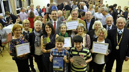 Residents in Whatfield celebrating winning last year's Suffolk Village of the Year competition