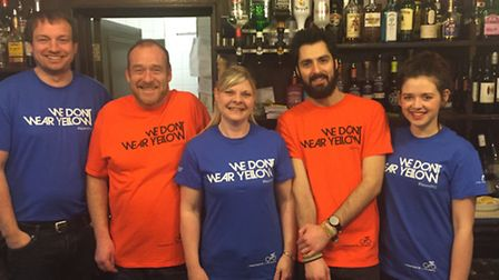 The team at The Greyound, Ipswich with We Don't Wear Yellow T-shirts