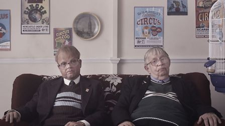 Pictured: (l-r) Toby Jones as Neil Baldwin with the real Neil Baldwin, as seen in Marvellous. Pic: B