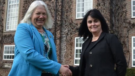 Writtle College outgoing chair Lise-Lotte Olsen and incoming chair Julia Smith.