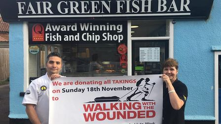 Fair Green Fish Bar in Denmark Street, Diss, will be donating proceeds to Walking With The Wounded.