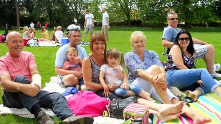 The Big Lunch, Hadleigh, JUne 1, 2014, Cox's Park. The Spalding and Chisnal families
