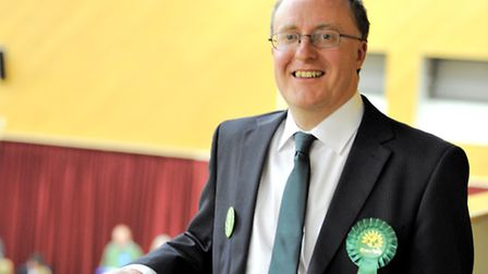Mark Goacher, Colchester's Green Party candidate, views the count.