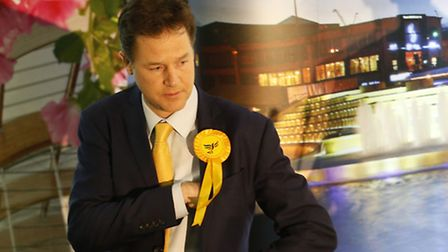 Nick Clegg wins his Sheffield Hallam seat at the EIS Sheffield. Photo credit: Lynne Cameron/PA Wire