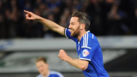 Cole Skuse celebrates his goal against Cardiff. Photo: Sarah Lucy Brown