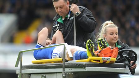 Ipswich Town v Norwich City FC. Sky Bet Championship. Luke Varney is taken off with an injury.