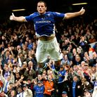 Signature swallow dive from Shefki Kuqi after scoring against Preston North End in November 2004
