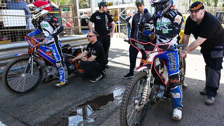 Rohan Tungate (left) and Ritchie Hawkins get set to be pushed off ahead of heat four of the Ipswich