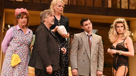 Temporary hiatus in rehearsals during Noises Off, by Michael Frayn, at The Colchester Mercury