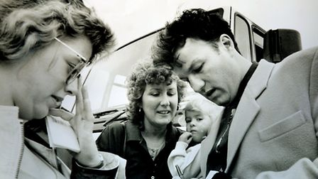 London's Burning actor Glen Murphy at Newmarket in August 1992 signing autographs at an emergency se