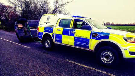 South Norfolk Police at the scene of a car crash near Diss on Saturday, December 1. PHOTO: South Nor