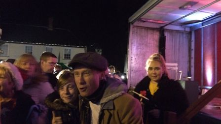 Britain's Got Talent contestant Ben Langley switched on Harleston's Christmas lights on Saturday, De