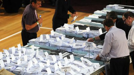 The recent election count in Clacton - counters are unlikely to be as fast as Sunderland