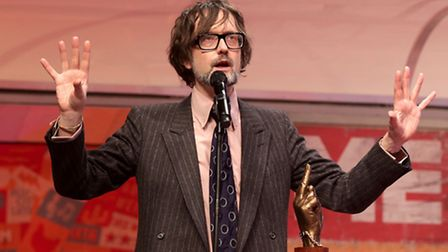Jarvis Cocker on stage during the NME Awards 2015 with Austin, Texas at the O2 Brixton Academy, Lond