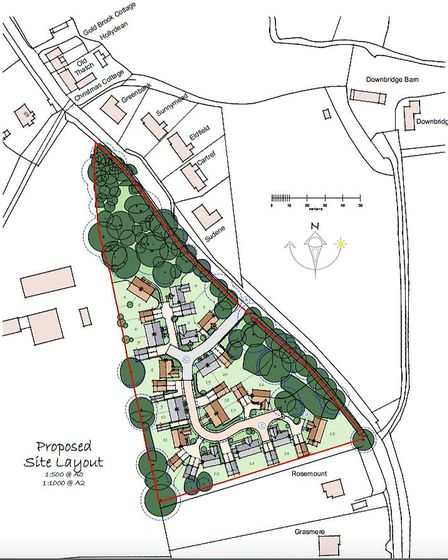Plans for 20 new houses at the former site of Goldbrook Plants in Hoxne. Picture: Michael Howard Hom