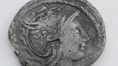A Roman denarius coin found by detectorists from Norfolk Heritage Recovery Group in Old Buckenham. P