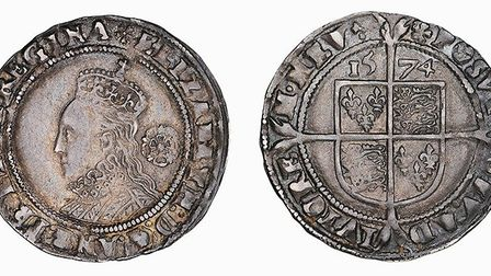 A Queen Elizabeth I sixpence dated 1574 unerathed by detectorists from Norfolk Heritage Recovery Gro