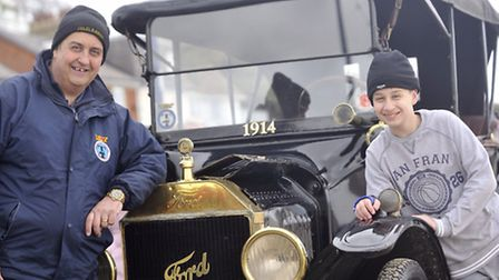 Andy Lucas and Sid Lucas, 12, brought their 1914 Ford Model T to the seafront in Felixstowe after th