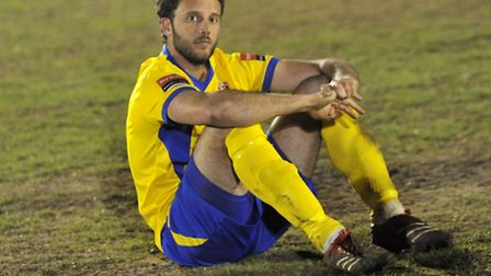 AFC Sudbury react to losing to Brentwood Town during penalties in the Ryman Football League division