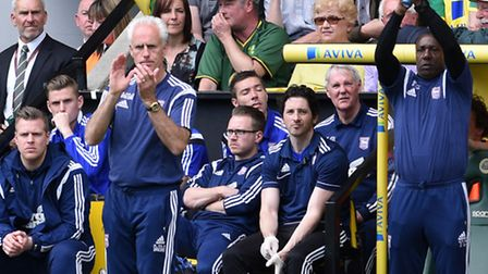 Ipswich Town manager Mick McCarthy applauds his team from the field. Photo: Ashley Pickering