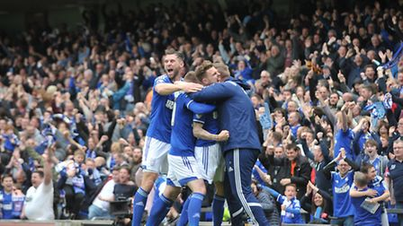 Celebrations after Paul Anderson's equaliser in Saturday's 1-1 draw with Norwich City at Portman Roa