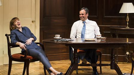 """Kacey Ainsworth as Sally (Chief Of Staff) and Gerald Kyd as Michael (Prime Minister) in""""Feed The Bea"""