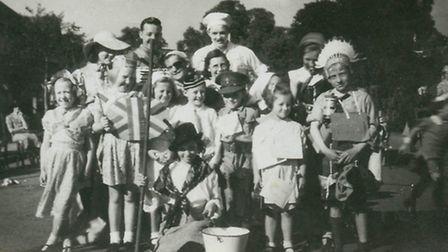 Michael has a lovely photograph of the youngsters in fancy dress, in Huxley Gardens. Hes in the mid