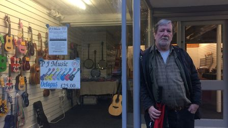 Peter Cunningham of PJ Music outside the old Currys shop on Mere Street. PHOTO: Sophie Smith