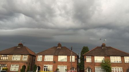 Storm clouds descend over Wherstead Road in Ipswich. Photo: Mike Stebbings
