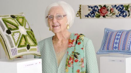Needlewoman Joannie Prichard-Barrett is having an exhibition of her needlepoint at the Ephmeral Gall