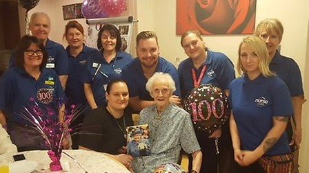 Winnie Jones celebrates her 100th birthday at Harker House in Long Stratton. PHOTO: Norse Care
