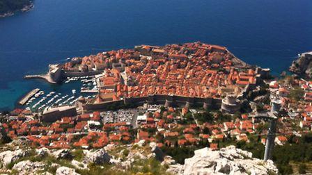 Looking down on Dubrovnik's old city from the cable car base up on the hillside