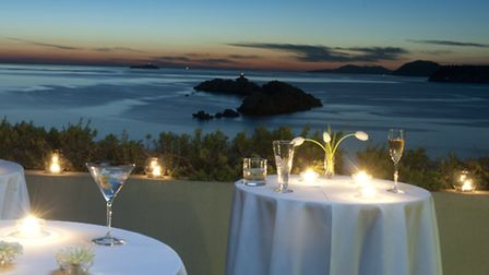 Dining outside at the Hotel Dubrovnik Palace