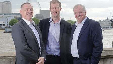 From left, Dave Haworth, Graham Briggs, Andy Wilson of Greene King following the 2015 VQ Awards cere